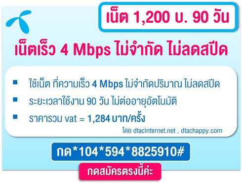 โปรเน็ตดีแทค 4Mbps 3 เดือน
